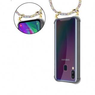 Cadorabo Handy Kette für Samsung Galaxy A40 in RAINBOW - Silikon Necklace Umhänge Hülle mit Gold Ringen, Kordel Band Schnur und abnehmbarem Etui ? Schutzhülle - Vorschau 5