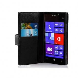 Cadorabo Hülle für Nokia Lumia 925 in OXID SCHWARZ ? Handyhülle aus strukturiertem Kunstleder mit Standfunktion und Kartenfach ? Case Cover Schutzhülle Etui Tasche Book Klapp Style