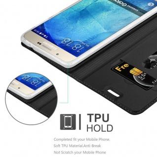 Cadorabo Hülle für Samsung Galaxy A8 2015 in CLASSY SCHWARZ - Handyhülle mit Magnetverschluss, Standfunktion und Kartenfach - Case Cover Schutzhülle Etui Tasche Book Klapp Style - Vorschau 2