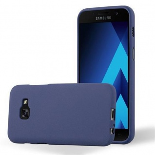 Cadorabo Hülle für Samsung Galaxy A3 2017 in FROST DUNKEL BLAU - Handyhülle aus flexiblem TPU Silikon - Silikonhülle Schutzhülle Ultra Slim Soft Back Cover Case Bumper