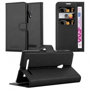 Cadorabo Hülle für Asus ZenFone 5 2014 in PHANTOM SCHWARZ - Handyhülle mit Magnetverschluss, Standfunktion und Kartenfach - Case Cover Schutzhülle Etui Tasche Book Klapp Style