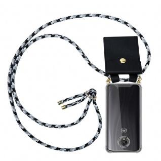 Cadorabo Handy Kette für Motorola MOTO G6 PLUS in SCHWARZ CAMOUFLAGE Silikon Necklace Umhänge Hülle mit Gold Ringen, Kordel Band Schnur und abnehmbarem Etui Schutzhülle