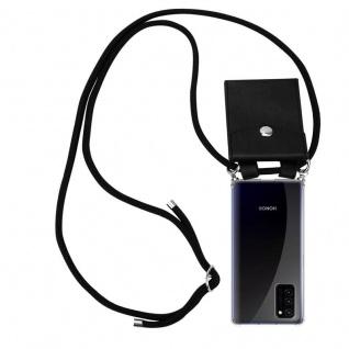 Cadorabo Handy Kette für Honor View 30 in SCHWARZ Silikon Necklace Umhänge Hülle mit Silber Ringen, Kordel Band Schnur und abnehmbarem Etui Schutzhülle