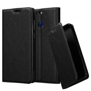 Cadorabo Hülle für Honor V9 in NACHT SCHWARZ - Handyhülle mit Magnetverschluss, Standfunktion und Kartenfach - Case Cover Schutzhülle Etui Tasche Book Klapp Style