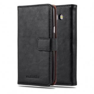 Cadorabo Hülle für Samsung Galaxy J5 2016 in GRAPHIT SCHWARZ - Handyhülle mit Magnetverschluss, Standfunktion und Kartenfach - Case Cover Schutzhülle Etui Tasche Book Klapp Style