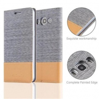 Cadorabo Hülle für Samsung Galaxy J5 2016 in HELL GRAU BRAUN - Handyhülle mit Magnetverschluss, Standfunktion und Kartenfach - Case Cover Schutzhülle Etui Tasche Book Klapp Style - Vorschau 2