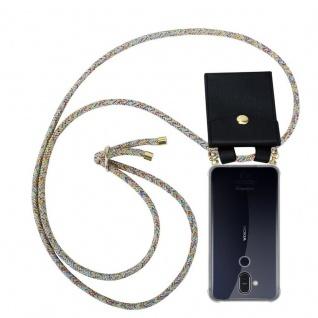 Cadorabo Handy Kette für Nokia 8.1 2018 in RAINBOW Silikon Necklace Umhänge Hülle mit Gold Ringen, Kordel Band Schnur und abnehmbarem Etui Schutzhülle