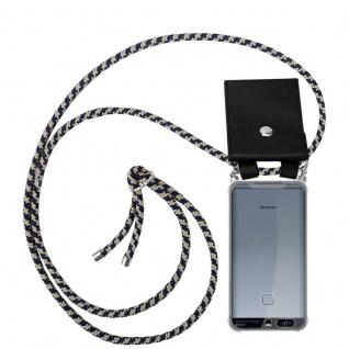 Cadorabo Handy Kette für Huawei P9 in DUNKELBLAU GELB Silikon Necklace Umhänge Hülle mit Silber Ringen, Kordel Band Schnur und abnehmbarem Etui Schutzhülle