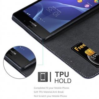 Cadorabo Hülle für Sony Xperia M2 / M2 AQUA in DUNKEL BLAU BRAUN ? Handyhülle mit Magnetverschluss, Standfunktion und Kartenfach ? Case Cover Schutzhülle Etui Tasche Book Klapp Style