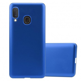 Cadorabo Hülle für Samsung Galaxy A20e in METALLIC BLAU - Handyhülle aus flexiblem TPU Silikon - Silikonhülle Schutzhülle Ultra Slim Soft Back Cover Case Bumper