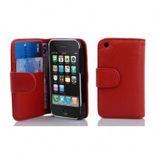 Cadorabo Hülle für Apple iPhone 3 / iPhone 3GS in INFERNO ROT ? Handyhülle aus strukturiertem Kunstleder mit Standfunktion und Kartenfach ? Case Cover Schutzhülle Etui Tasche Book Klapp Style