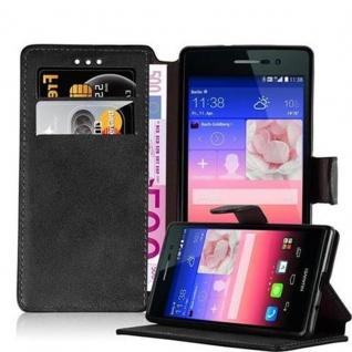 Cadorabo Hülle für Huawei P7 - Hülle in MATT SCHWARZ ? Handyhülle mit Standfunktion und Kartenfach im Retro Design - Case Cover Schutzhülle Etui Tasche Book Klapp Style