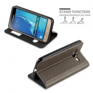 Cadorabo Hülle für Samsung Galaxy J3 / J3 DUOS 2016 in STEIN BRAUN - Handyhülle mit Magnetverschluss, Standfunktion und 2 Sichtfenstern - Case Cover Schutzhülle Etui Tasche Book Klapp Style - Vorschau 3