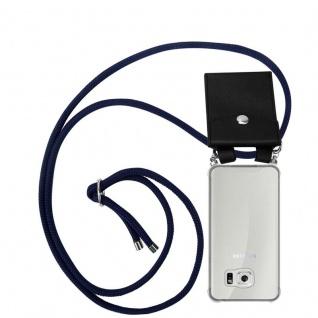 Cadorabo Handy Kette für Samsung Galaxy S6 in TIEF BLAU Silikon Necklace Umhänge Hülle mit Silber Ringen, Kordel Band Schnur und abnehmbarem Etui Schutzhülle