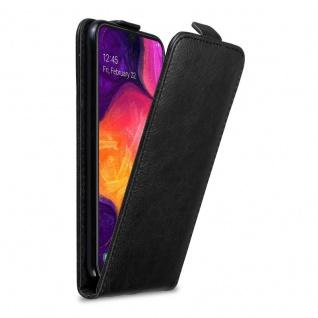 Cadorabo Hülle für Samsung Galaxy A50 in NACHT SCHWARZ Handyhülle im Flip Design mit Magnetverschluss Case Cover Schutzhülle Etui Tasche Book Klapp Style
