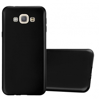 Cadorabo Hülle für Samsung Galaxy A8 2015 in METALLIC SCHWARZ - Handyhülle aus flexiblem TPU Silikon - Silikonhülle Schutzhülle Ultra Slim Soft Back Cover Case Bumper