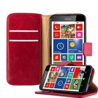 Cadorabo Hülle für Nokia Lumia 630 in WEIN ROT - Handyhülle mit Magnetverschluss, Standfunktion und Kartenfach - Case Cover Schutzhülle Etui Tasche Book Klapp Style