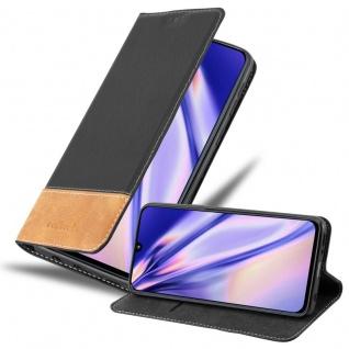 Cadorabo Hülle für Samsung Galaxy A40 in SCHWARZ BRAUN Handyhülle mit Magnetverschluss, Standfunktion und Kartenfach Case Cover Schutzhülle Etui Tasche Book Klapp Style