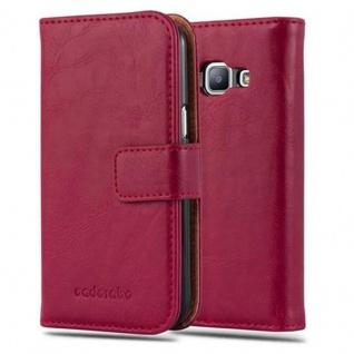 Cadorabo Hülle für Samsung Galaxy J1 2015 in WEIN ROT - Handyhülle mit Magnetverschluss, Standfunktion und Kartenfach - Case Cover Schutzhülle Etui Tasche Book Klapp Style