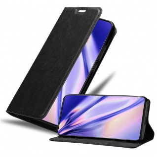 Cadorabo Hülle für Samsung Galaxy A91 in NACHT SCHWARZ Handyhülle mit Magnetverschluss, Standfunktion und Kartenfach Case Cover Schutzhülle Etui Tasche Book Klapp Style