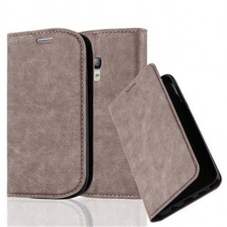 Cadorabo Hülle für Samsung Galaxy S3 MINI in KAFFEE BRAUN - Handyhülle mit Magnetverschluss, Standfunktion und Kartenfach - Case Cover Schutzhülle Etui Tasche Book Klapp Style