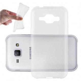 Cadorabo Hülle für Samsung Galaxy J1 2015 in VOLL TRANSPARENT - Handyhülle aus flexiblem TPU Silikon - Silikonhülle Schutzhülle Ultra Slim Soft Back Cover Case Bumper
