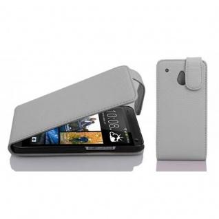 Cadorabo Hülle für HTC ONE M4 MINI in MAGNESIUM WEIß - Handyhülle im Flip Design aus strukturiertem Kunstleder - Case Cover Schutzhülle Etui Tasche Book Klapp Style