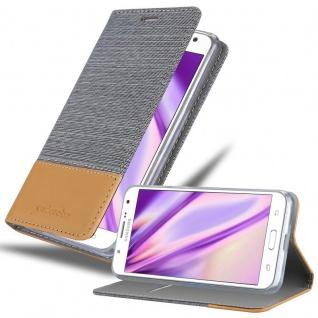 Cadorabo Hülle für Samsung Galaxy J7 2015 in HELL GRAU BRAUN - Handyhülle mit Magnetverschluss, Standfunktion und Kartenfach - Case Cover Schutzhülle Etui Tasche Book Klapp Style