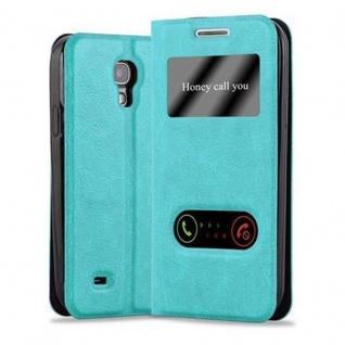 Cadorabo Hülle für Samsung Galaxy S4 MINI in MINT TÜRKIS - Handyhülle mit Magnetverschluss, Standfunktion und 2 Sichtfenstern - Case Cover Schutzhülle Etui Tasche Book Klapp Style