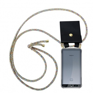 Cadorabo Handy Kette für Huawei P9 PLUS in RAINBOW Silikon Necklace Umhänge Hülle mit Gold Ringen, Kordel Band Schnur und abnehmbarem Etui Schutzhülle