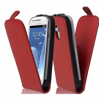 Cadorabo Hülle für Samsung Galaxy S3 MINI in CHILI ROT - Handyhülle im Flip Design aus glattem Kunstleder - Case Cover Schutzhülle Etui Tasche Book Klapp Style