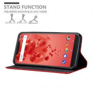 Cadorabo Hülle für WIKO VIEW 2 PLUS in APFEL ROT - Handyhülle mit Magnetverschluss, Standfunktion und Kartenfach - Case Cover Schutzhülle Etui Tasche Book Klapp Style - Vorschau 4