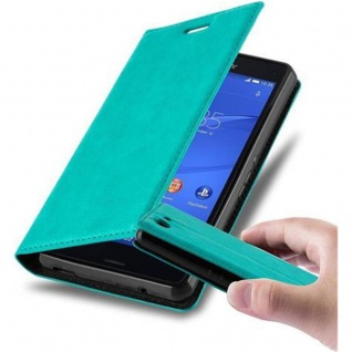 Cadorabo Hülle für Sony Xperia Z3 COMPACT in PETROL TÜRKIS - Handyhülle mit Magnetverschluss, Standfunktion und Kartenfach - Case Cover Schutzhülle Etui Tasche Book Klapp Style