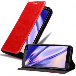 Cadorabo Hülle für Nokia 1 PLUS in APFEL ROT Handyhülle mit Magnetverschluss, Standfunktion und Kartenfach Case Cover Schutzhülle Etui Tasche Book Klapp Style
