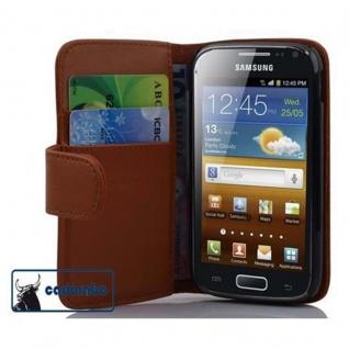 Cadorabo Hülle für Samsung Galaxy ACE 2 in KAKAO BRAUN - Handyhülle aus glattem Kunstleder mit Standfunktion und Kartenfach - Case Cover Schutzhülle Etui Tasche Book Klapp Style