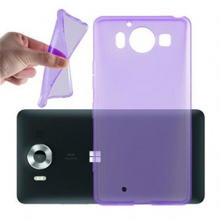 Cadorabo Hülle für Nokia Lumia 950 XL in TRANSPARENT LILA - Handyhülle aus flexiblem TPU Silikon - Silikonhülle Schutzhülle Ultra Slim Soft Back Cover Case Bumper