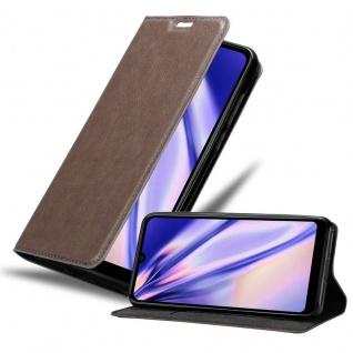 Cadorabo Hülle für WIKO View 3 LITE in KAFFEE BRAUN Handyhülle mit Magnetverschluss, Standfunktion und Kartenfach Case Cover Schutzhülle Etui Tasche Book Klapp Style