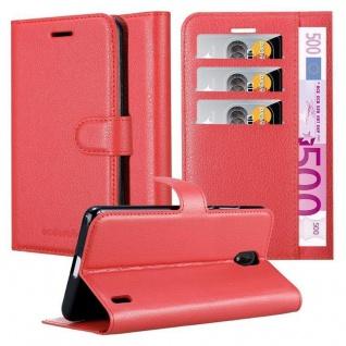 Cadorabo Hülle für Nokia 1 PLUS in KARMIN ROT Handyhülle mit Magnetverschluss, Standfunktion und Kartenfach Case Cover Schutzhülle Etui Tasche Book Klapp Style