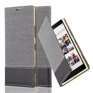 Cadorabo Hülle für Nokia Lumia 1520 in GRAU SCHWARZ - Handyhülle mit Magnetverschluss, Standfunktion und Kartenfach - Case Cover Schutzhülle Etui Tasche Book Klapp Style