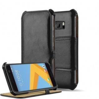 Cadorabo Hülle für HTC 10 - Hülle in PIANO SCHWARZ - Handyhülle OHNE Magnetverschluss mit Standfunktion und Eckhalterung - Hard Case Book Etui Schutzhülle Tasche Cover