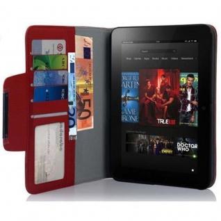 Cadorabo Hülle für Kindl Fire (7.0 Zoll) 2012 - Hülle in BRILLANT ROT - Schutzhülle mit Standfunktion und Kartenfach - Book Style Etui Bumper Case Cover