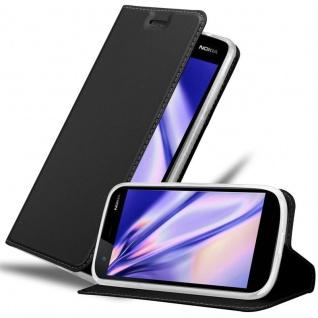 Cadorabo Hülle für Nokia 1 in CLASSY SCHWARZ - Handyhülle mit Magnetverschluss, Standfunktion und Kartenfach - Case Cover Schutzhülle Etui Tasche Book Klapp Style