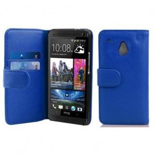 Cadorabo Hülle für HTC ONE M4 MINI in KÖNIGS BLAU - Handyhülle aus strukturiertem Kunstleder mit Standfunktion und Kartenfach - Case Cover Schutzhülle Etui Tasche Book Klapp Style