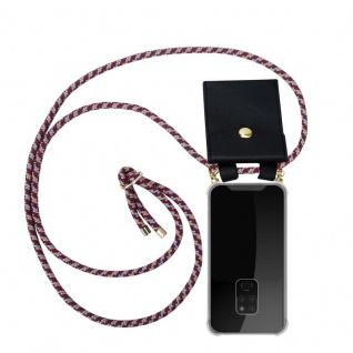 Cadorabo Handy Kette für Huawei MATE 20 in ROT GELB WEISS - Silikon Necklace Umhänge Hülle mit Gold Ringen, Kordel Band Schnur und abnehmbarem Etui ? Schutzhülle