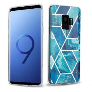 Cadorabo Hülle für Samsung Galaxy S9 Hülle in Blaue Welle Marmor No.13 Handyhülle aus TPU Silikon mit Muster Mosaik Silikonhülle Schutzhülle Ultra Slim Back Cover Case Bumper