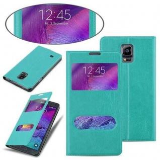 Cadorabo Hülle für Samsung Galaxy NOTE 4 in MINT TÜRKIS - Handyhülle mit Magnetverschluss, Standfunktion und 2 Sichtfenstern - Case Cover Schutzhülle Etui Tasche Book Klapp Style - Vorschau 3