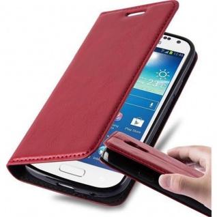 Cadorabo Hülle für Samsung Galaxy S4 MINI in APFEL ROT - Handyhülle mit Magnetverschluss, Standfunktion und Kartenfach - Case Cover Schutzhülle Etui Tasche Book Klapp Style