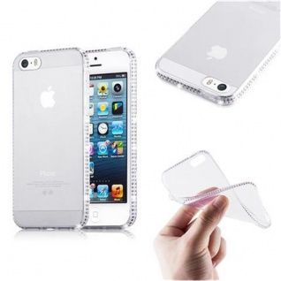 Cadorabo Hülle für Apple iPhone 5 / iPhone 5S / iPhone SE - Hülle in TRANSPARENT WEIß ? Handyhülle aus TPU Silikon im Strass Design - Ultra Slim Soft Backcover Case Bumper