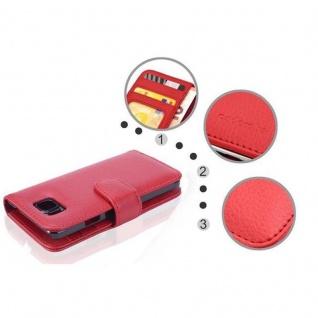 Cadorabo Hülle für Samsung Galaxy ALPHA in INFERNO ROT ? Handyhülle mit Magnetverschluss und 3 Kartenfächern ? Case Cover Schutzhülle Etui Tasche Book Klapp Style - Vorschau 5