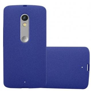 Cadorabo Hülle für Motorola MOTO X PLAY in FROST DUNKEL BLAU - Handyhülle aus flexiblem TPU Silikon - Silikonhülle Schutzhülle Ultra Slim Soft Back Cover Case Bumper